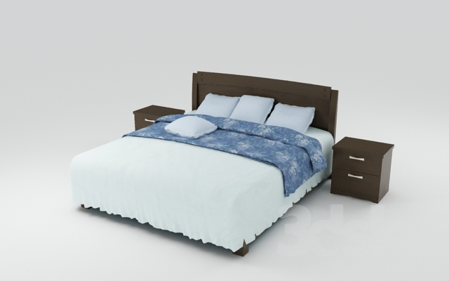 Bed with bedside