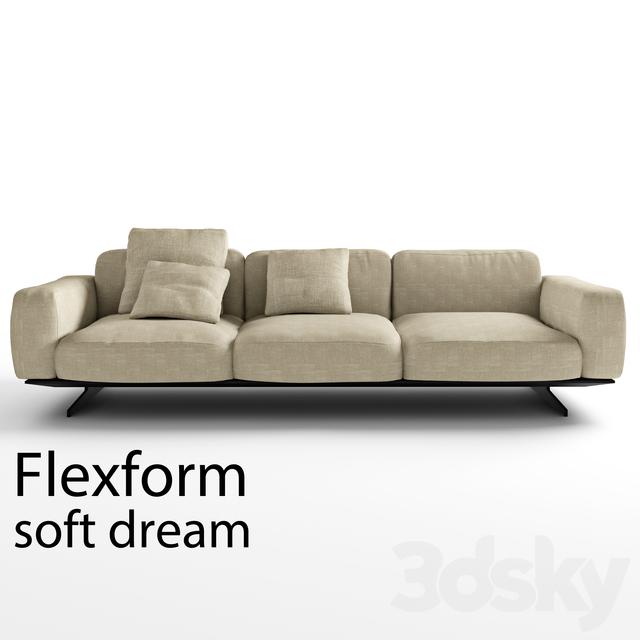 3d models sofa flexform soft dream. Black Bedroom Furniture Sets. Home Design Ideas