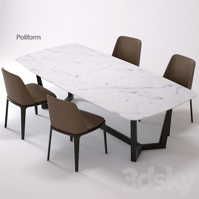 3d Models Table Chair Concorde Grace Poliform