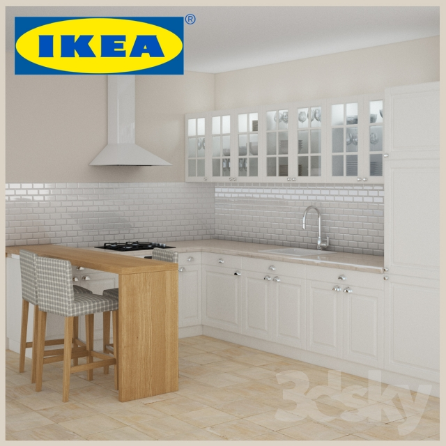 3d models kitchen ikea faktum lindigo off white. Black Bedroom Furniture Sets. Home Design Ideas
