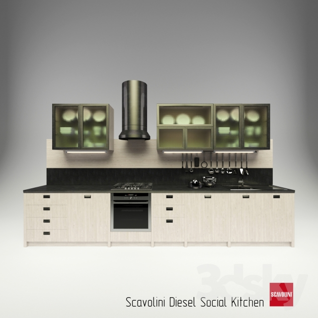 3d models: Kitchen - scavolini diesel social kitchen