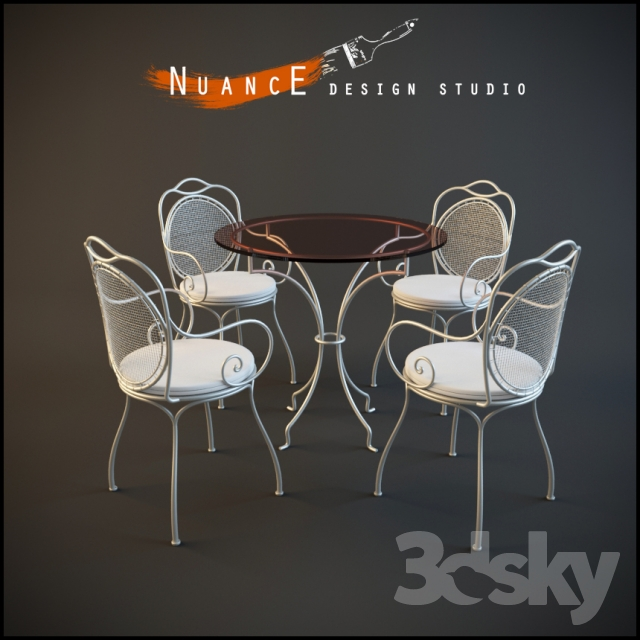 3d models table chair table with chairs nuance. Black Bedroom Furniture Sets. Home Design Ideas