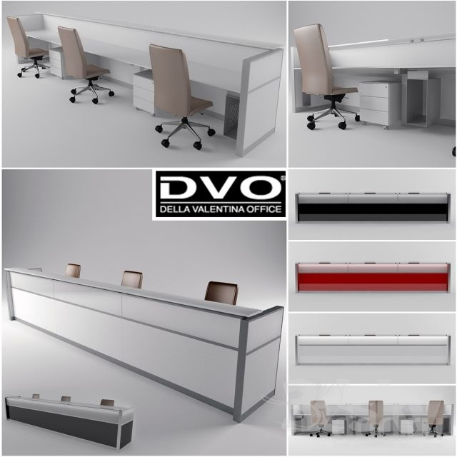 3d models: Office furniture - Della Valentina Office Reception LED2