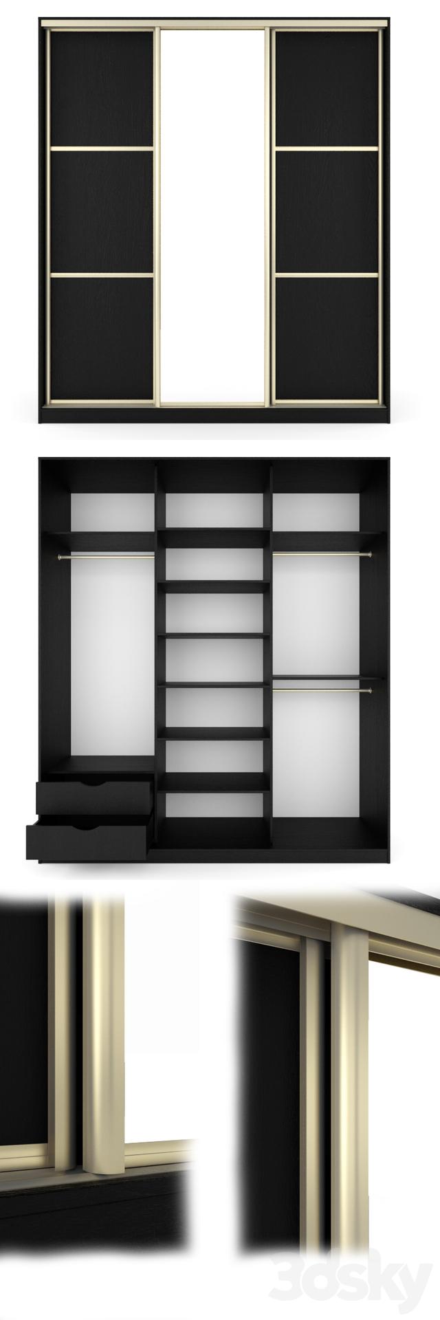 3d Models Wardrobe Display Cabinets Sliding Door Wardrobe With