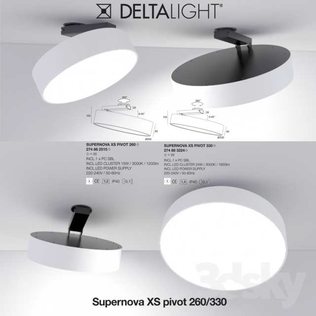 3d models ceiling light delta light supernova xs pivot. Black Bedroom Furniture Sets. Home Design Ideas
