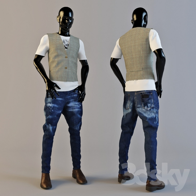 3d models clothes and shoes male mannequin
