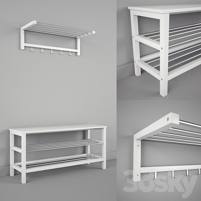 3d models other ikea chusig tjusig bench and shelf. Black Bedroom Furniture Sets. Home Design Ideas