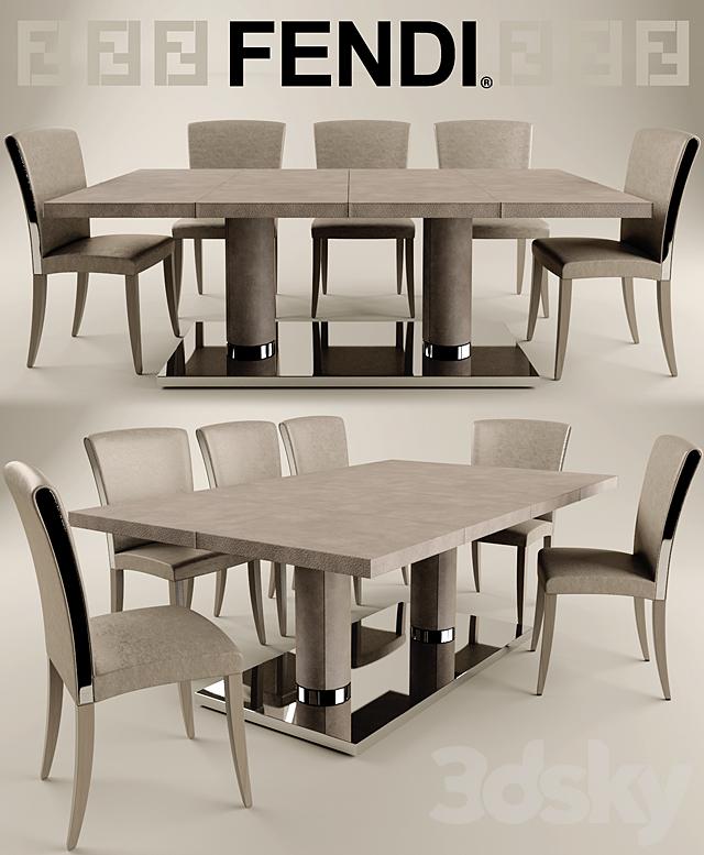 3d Models Table Chair Fendi Casa Bernini Fendi Casa