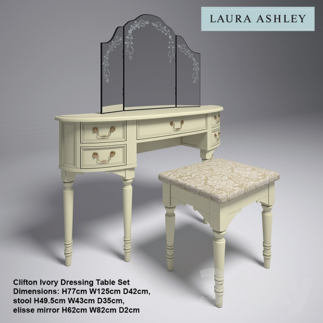3d models: Other - Laura Ashley Clifton Ivory Dressing Table Set