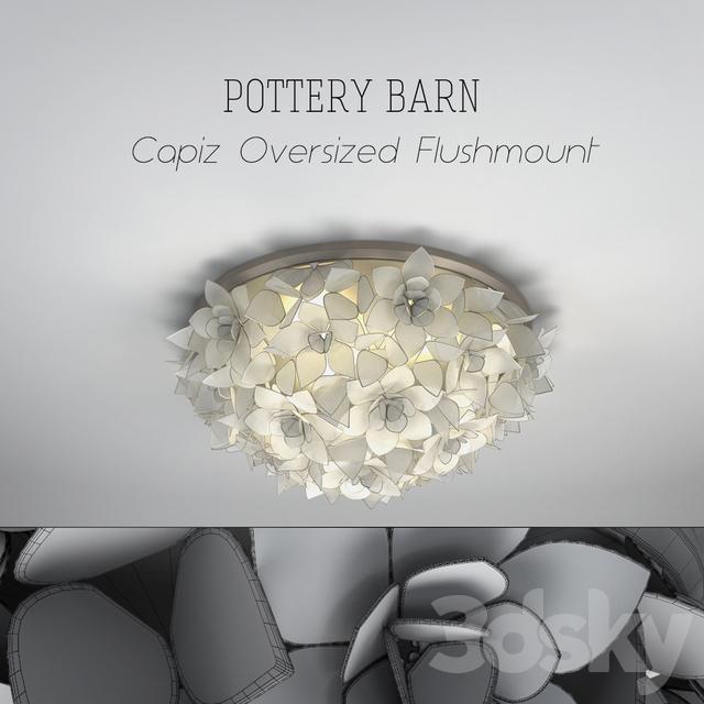 fb1078b8d7bed 3d models  Ceiling light - POTTERY BARN Capiz Oversized Flushmount