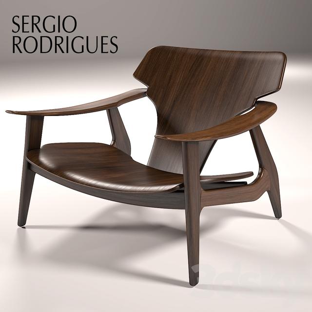 3d models arm chair sergio rodrigues poltrona diz for Poltrona 3d