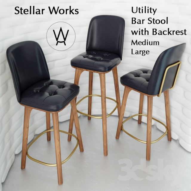3d Models Chair Utility Bar Stool With Backrest