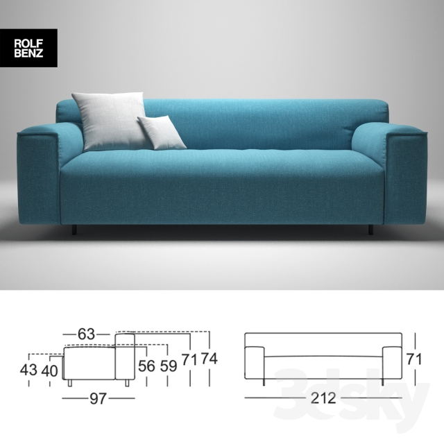 3d models sofa rolf benz grata. Black Bedroom Furniture Sets. Home Design Ideas