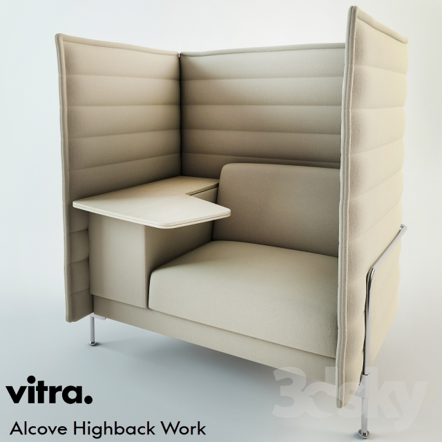 3d models: Sofa - Vitra Alcove Highback Work