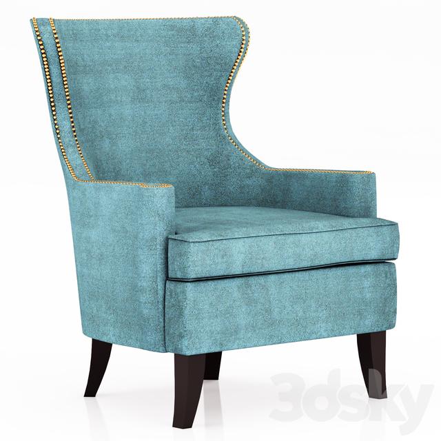 Superieur Pacific Blue Elliott Wingback Chair
