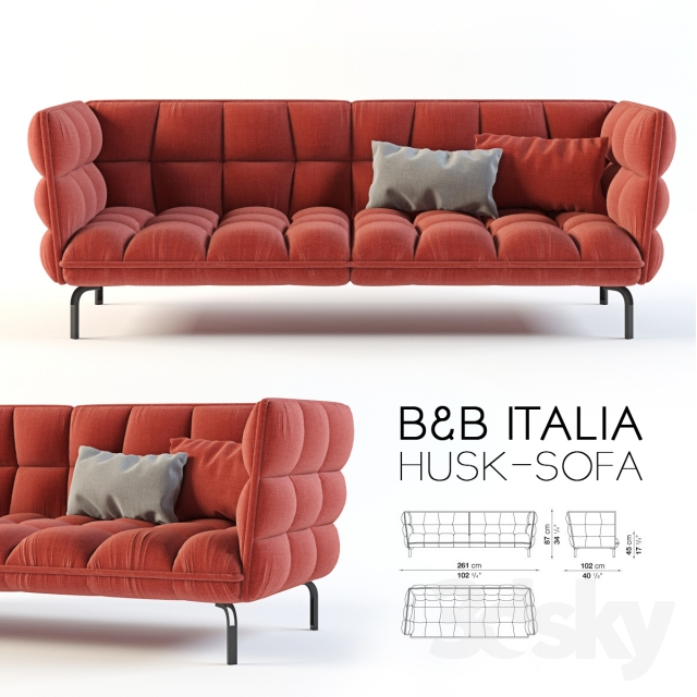 3d models sofa b b italia husk sofa. Black Bedroom Furniture Sets. Home Design Ideas