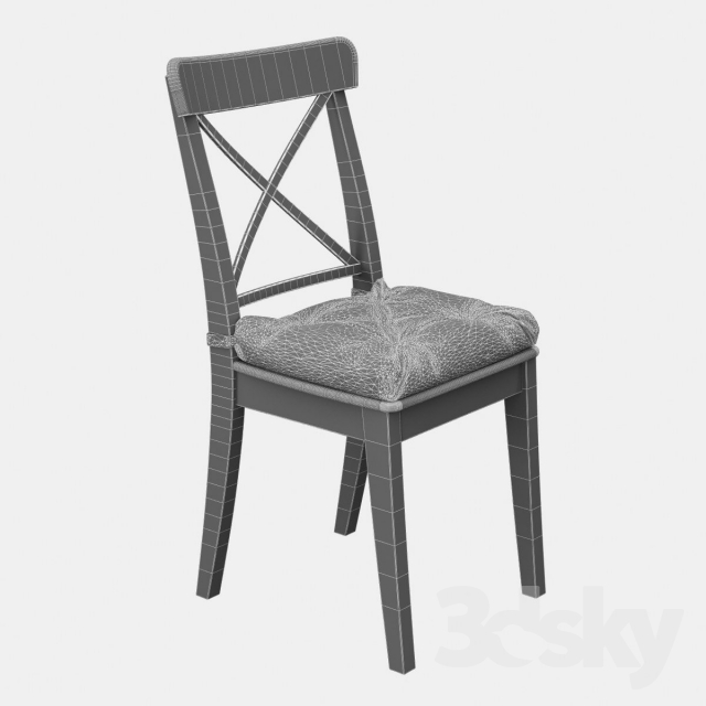 3d Models: Chair   Ikea Ingolf With Pillow Malinda