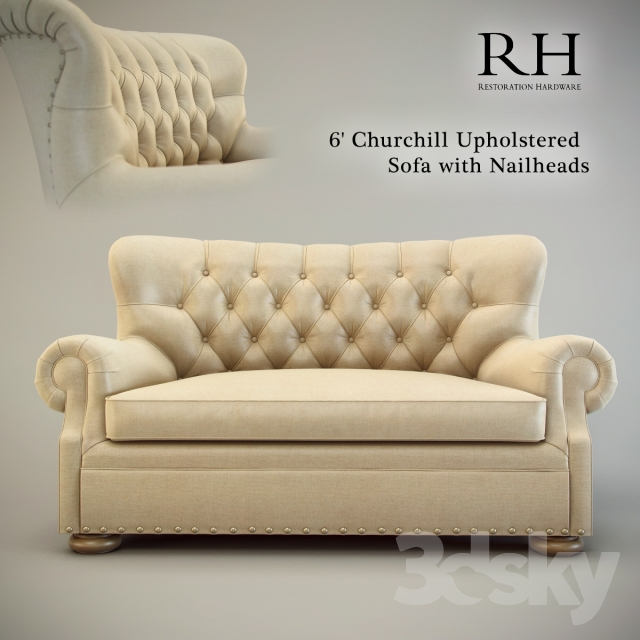 6 39 Churchill Upholstered Sofa With Nailheads