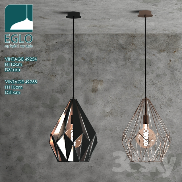 3d models ceiling light chandelier eglo vintage 49254. Black Bedroom Furniture Sets. Home Design Ideas