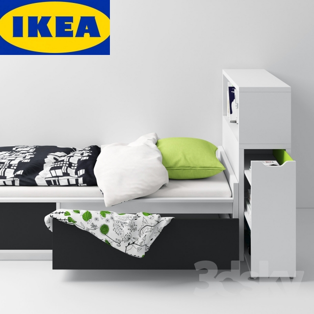 Ikea Trysil Nightstand Review ~ 3d models Bed  IKEA FLAXA (bed + headboard)