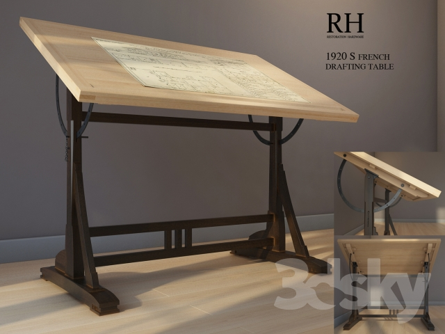 Drawing Table Restoration Hardware 1920s French Drafting Table
