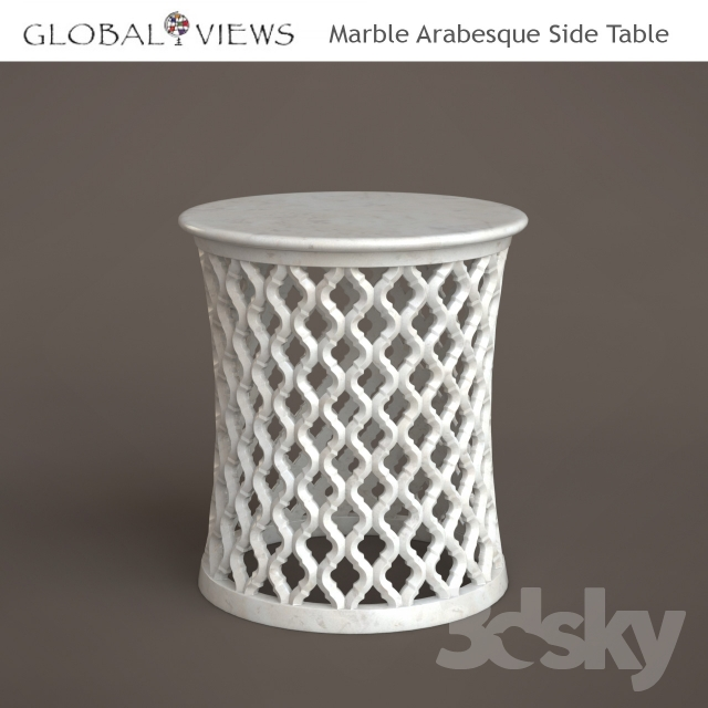 White Marble Arabesque Side Table