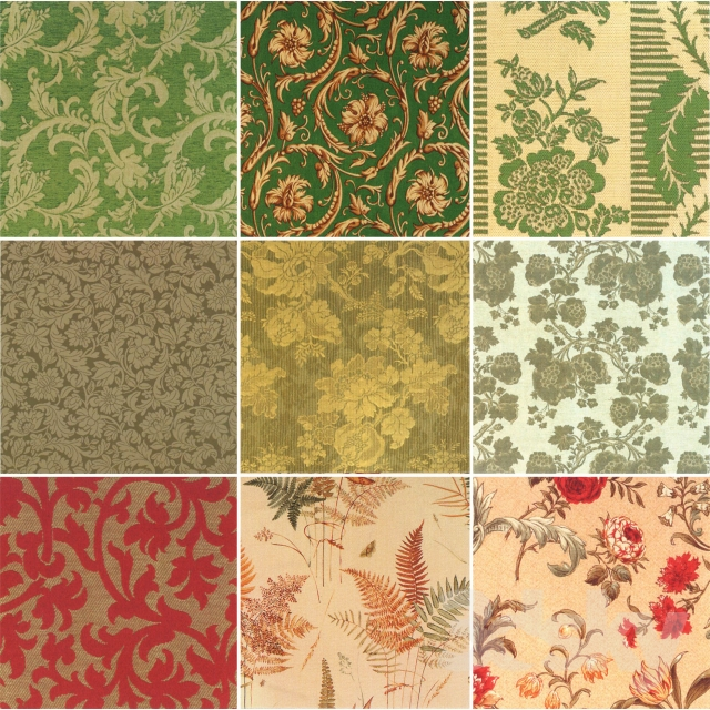 A selection of fabrics with floral motif