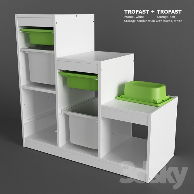 3d models miscellaneous ikea trofast storage combination with boxes set. Black Bedroom Furniture Sets. Home Design Ideas