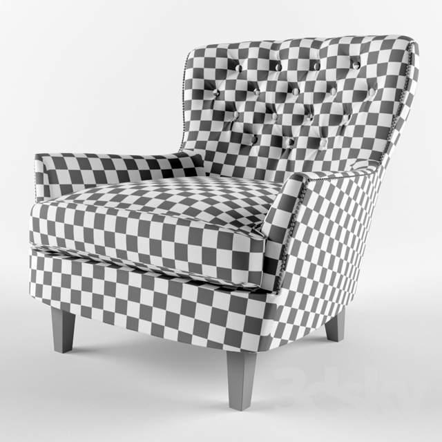3d Models Arm Chair Pottery Barn Cardiff Tufted