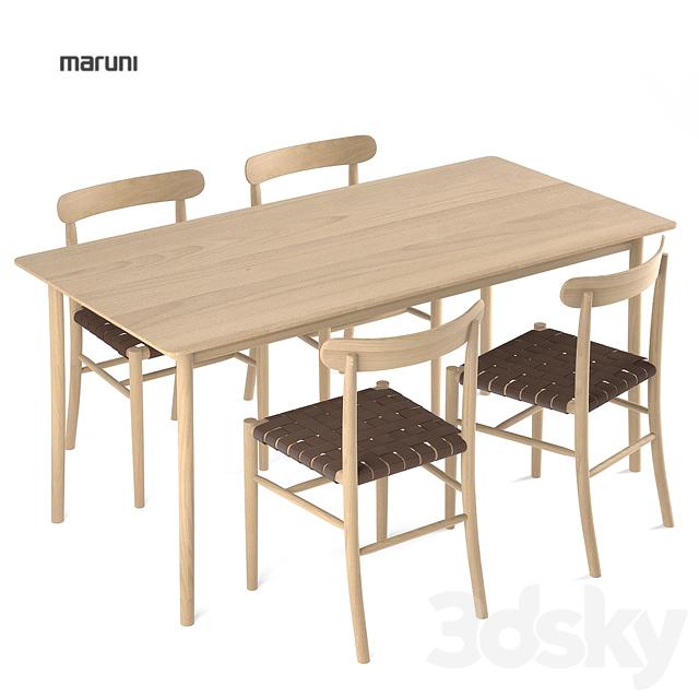 Maruni Armless Chair Lightwood + Table