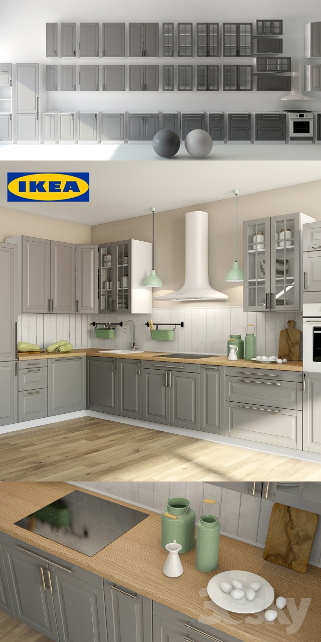 3d models kitchen liding ikea ikea bodbyn. Black Bedroom Furniture Sets. Home Design Ideas