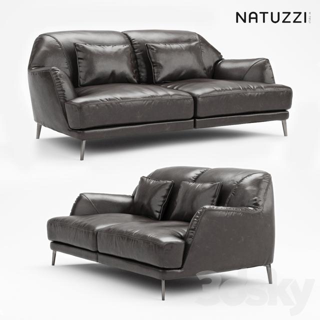 Natuzzi Don Giovanni Dark Leather Sofa