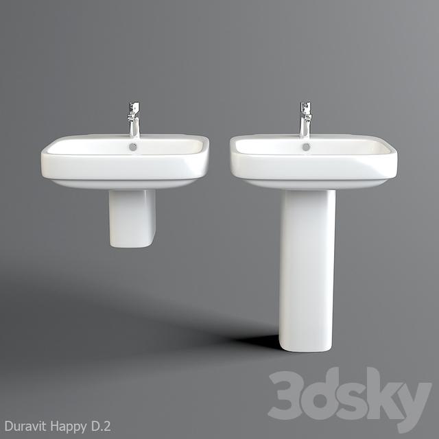 3d models wash basin sink duravit happy d 2 with pedestal. Black Bedroom Furniture Sets. Home Design Ideas