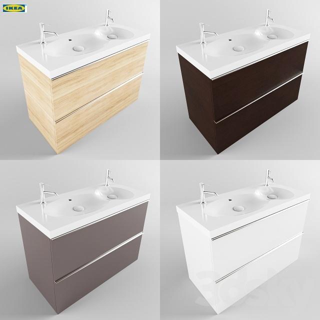 3d Models Bathroom Furniture Ikea Bredviken Double Sinks