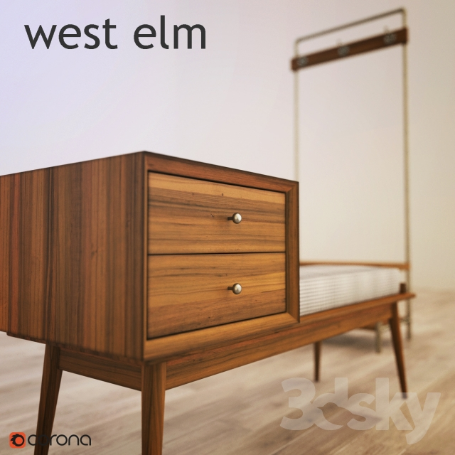 Ordinaire 3d Models: Other   West Elm Mid Century Storage Bench, Pipeline Hall Tree