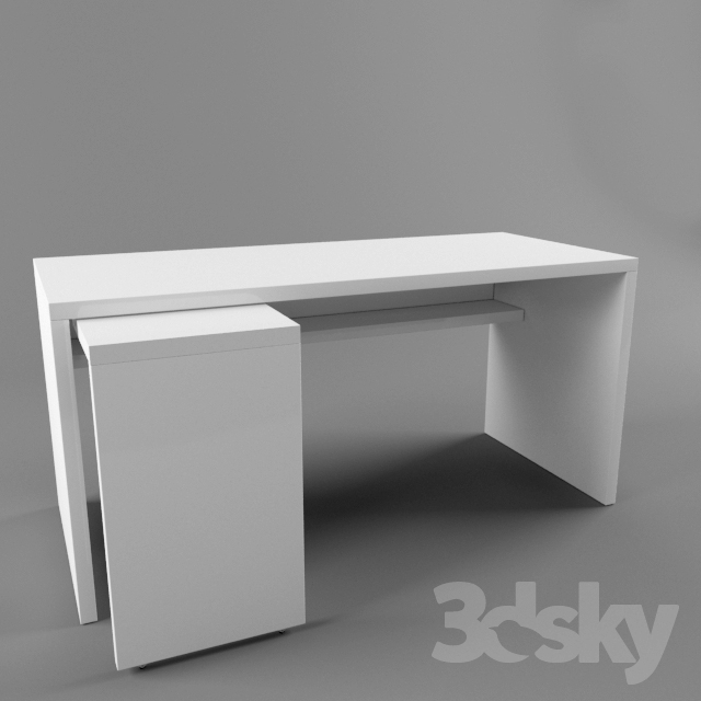 Delightful 3d Models: Table   Ikea Malm 151x65 With Pull Out Panel