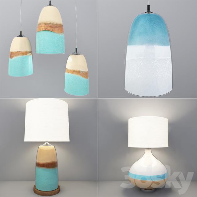 Ceramic Wall Lamp Shades : 3d models: Ceiling light - Strata Art Glass & Seaside Ceramic Table Lamp. Shades of Light