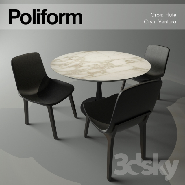 3d models table chair poliform flute ventura