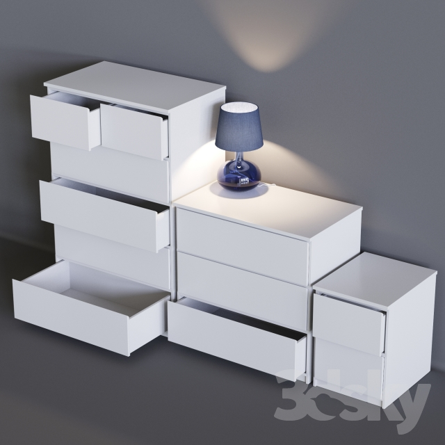 3d models sideboard chest of drawer ikea malm. Black Bedroom Furniture Sets. Home Design Ideas