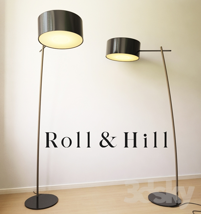 3d models floor lamp roll and hill lamp. Black Bedroom Furniture Sets. Home Design Ideas