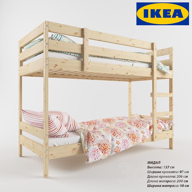 3d models bed ikea mydal for Bed models images