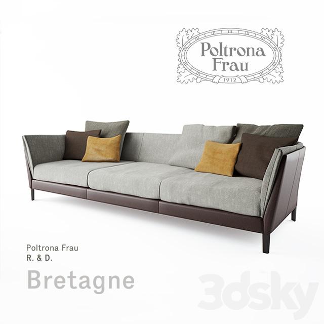 3d models sofa poltrona frau bretagne sofa 3 seater - Divano letto frau ...