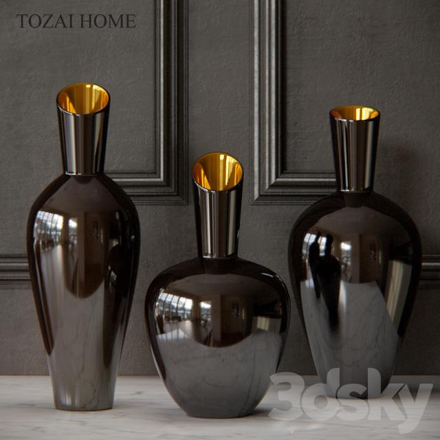3d models vase tozai noir gold decorative vases. Black Bedroom Furniture Sets. Home Design Ideas