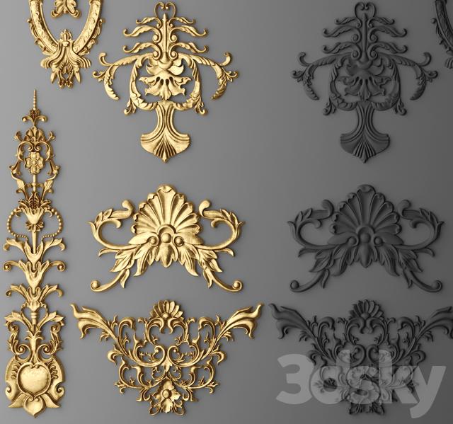 3d models decorative plaster stucco decor set for Decor 3d model