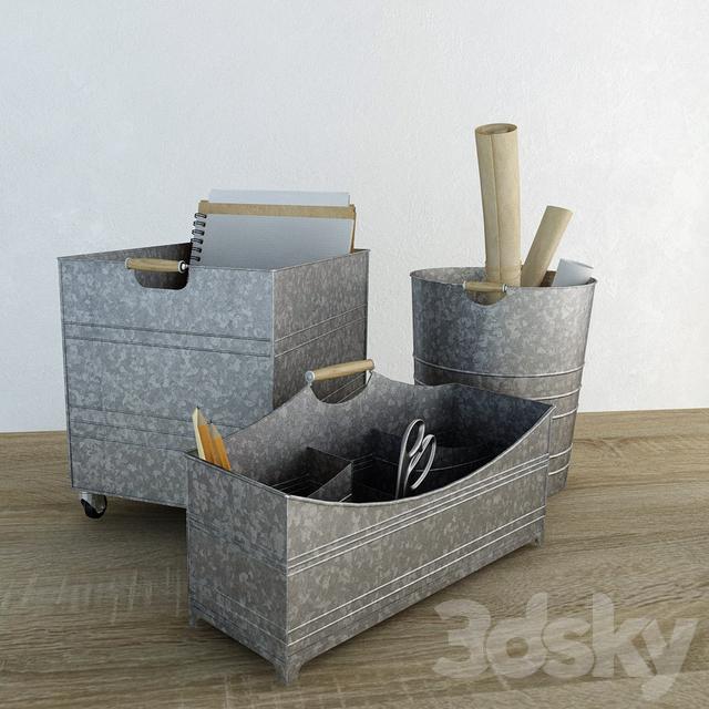 3d Models Decorative Set Stationery Set Galvanized Desk