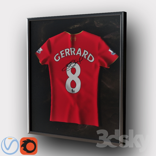 3d models: Other decorative objects - Gerrard shirt in frame / T ...