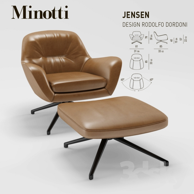3d Models Arm Chair Minotti Jensen Armchair
