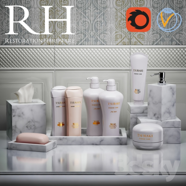 Superieur Set For Restoration Hardware Bathroom With Shampoos And Plates