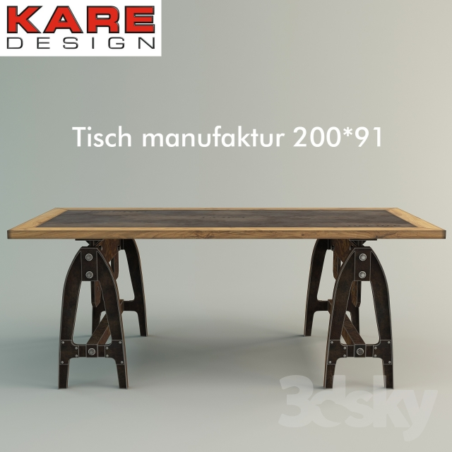 3d models table tisch manufaktur 200x91 by kare design for Kare design tisch