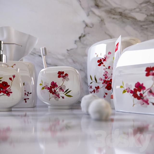 3d models: Bathroom accessories - Decorative set of bathroom of ...